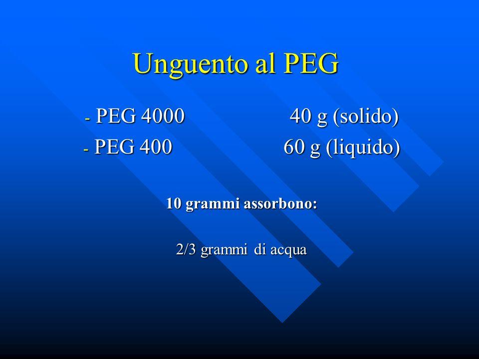 Unguento al PEG PEG 4000 40 g (solido) PEG 400 60 g (liquido)