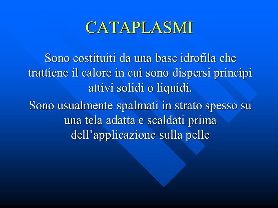 CATAPLASMI Sono costituiti da una base idrofila che trattiene il calore in cui sono dispersi principi attivi solidi o liquidi.