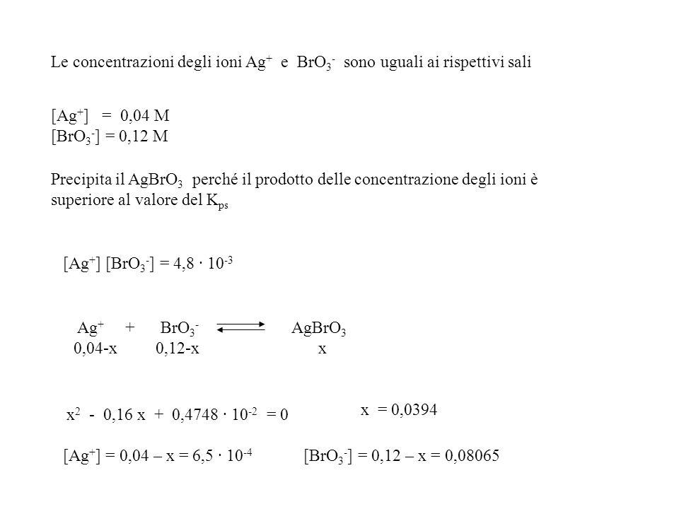 Le concentrazioni degli ioni Ag+ e BrO3- sono uguali ai rispettivi sali