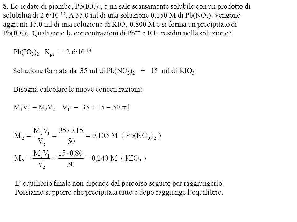 8. Lo iodato di piombo, Pb(IO3)2, è un sale scarsamente solubile con un prodotto di solubilità di 2.6·10-13. A 35.0 ml di una soluzione 0.150 M di Pb(NO3)2 vengono aggiunti 15.0 ml di una soluzione di KIO3 0.800 M e si forma un precipitato di Pb(IO3)2. Quali sono le concentrazioni di Pb++ e IO3- residui nella soluzione