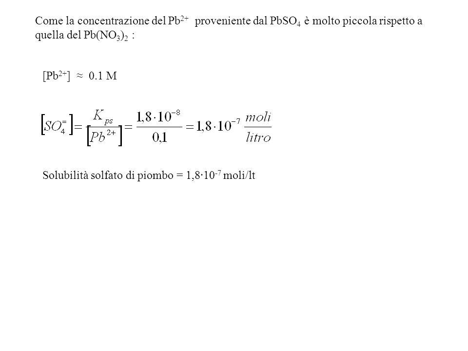 Come la concentrazione del Pb2+ proveniente dal PbSO4 è molto piccola rispetto a quella del Pb(NO3)2 :