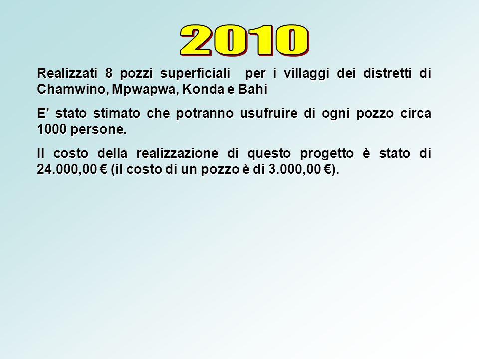 2010 Realizzati 8 pozzi superficiali per i villaggi dei distretti di Chamwino, Mpwapwa, Konda e Bahi.
