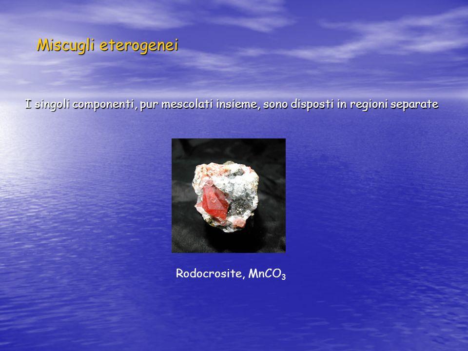 Miscugli eterogenei I singoli componenti, pur mescolati insieme, sono disposti in regioni separate.