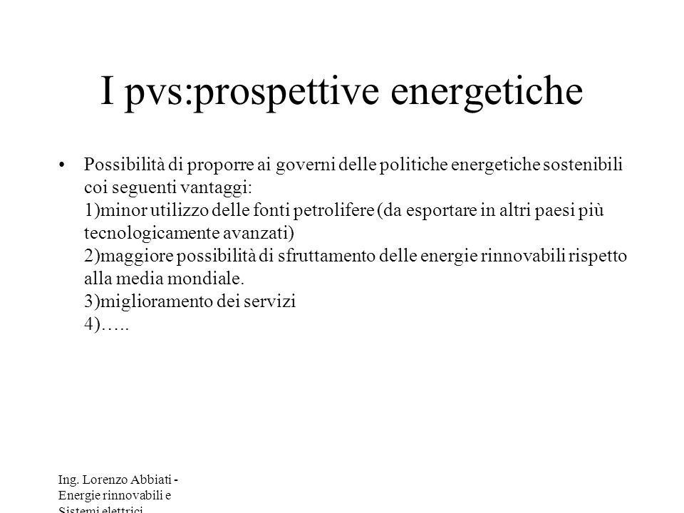 I pvs:prospettive energetiche