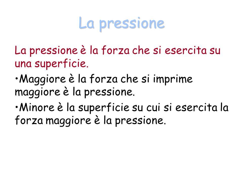 La pressione La pressione è la forza che si esercita su una superficie. Maggiore è la forza che si imprime maggiore è la pressione.