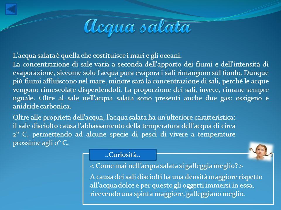 Acqua salata L acqua salata è quella che costituisce i mari e gli oceani.