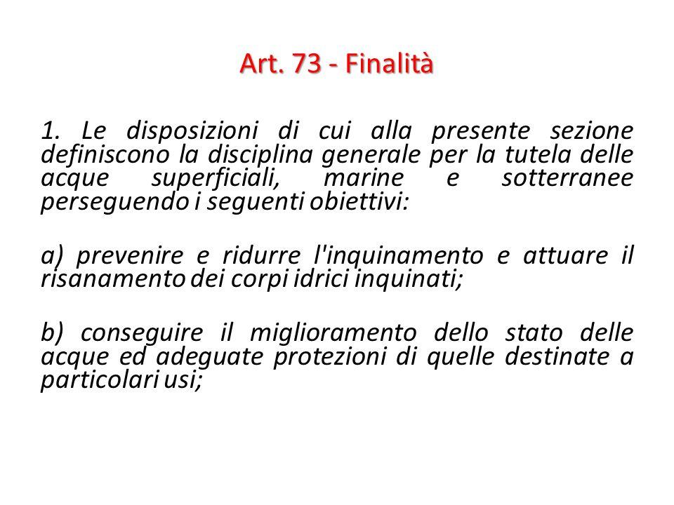 Art. 73 - Finalità