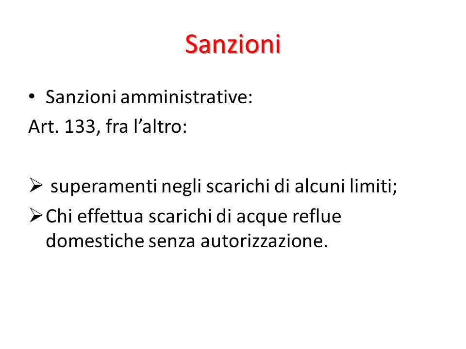 Sanzioni Sanzioni amministrative: Art. 133, fra l'altro:
