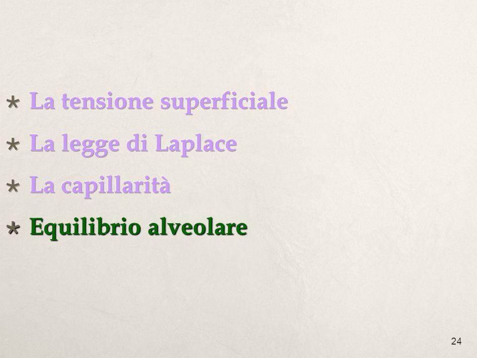 La tensione superficiale La legge di Laplace La capillarità