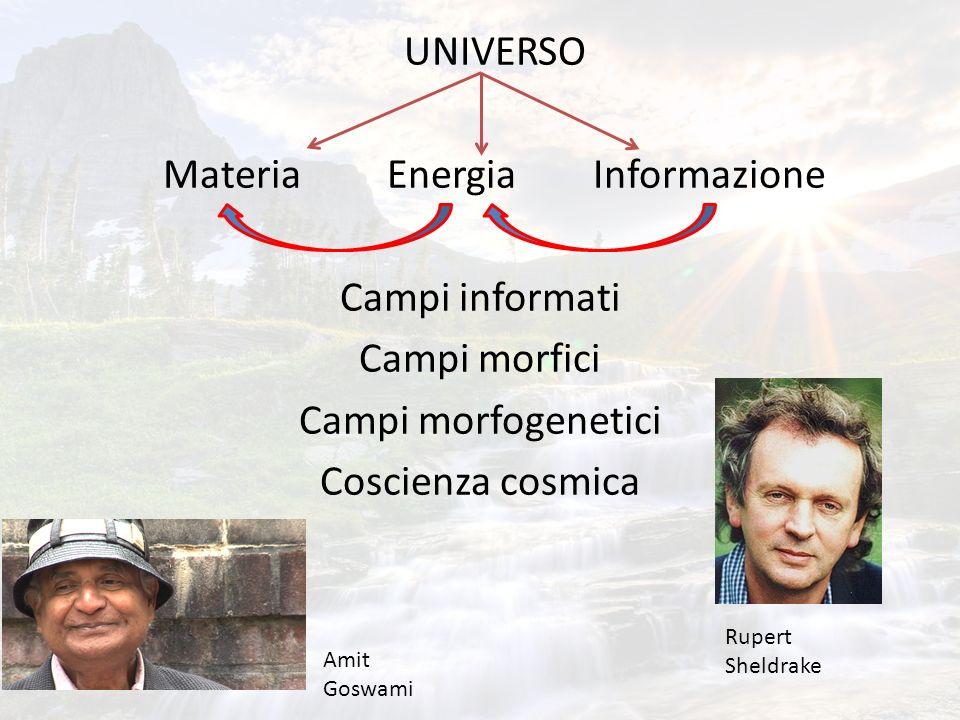 UNIVERSO Materia Energia Informazione Campi informati Campi morfici Campi morfogenetici Coscienza cosmica