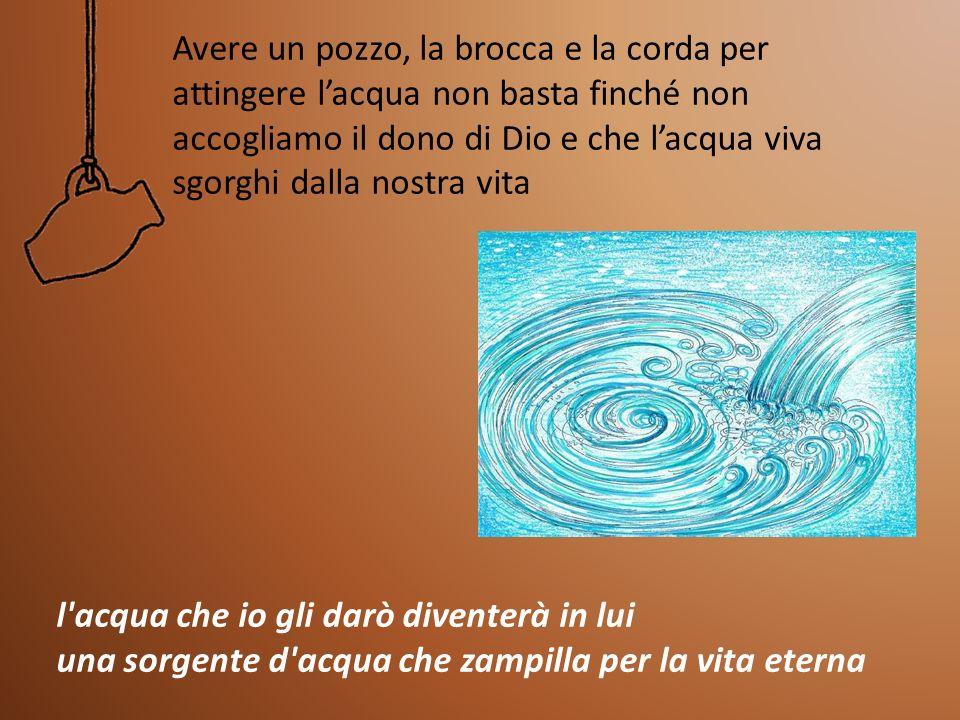 Avere un pozzo, la brocca e la corda per attingere l'acqua non basta finché non accogliamo il dono di Dio e che l'acqua viva sgorghi dalla nostra vita