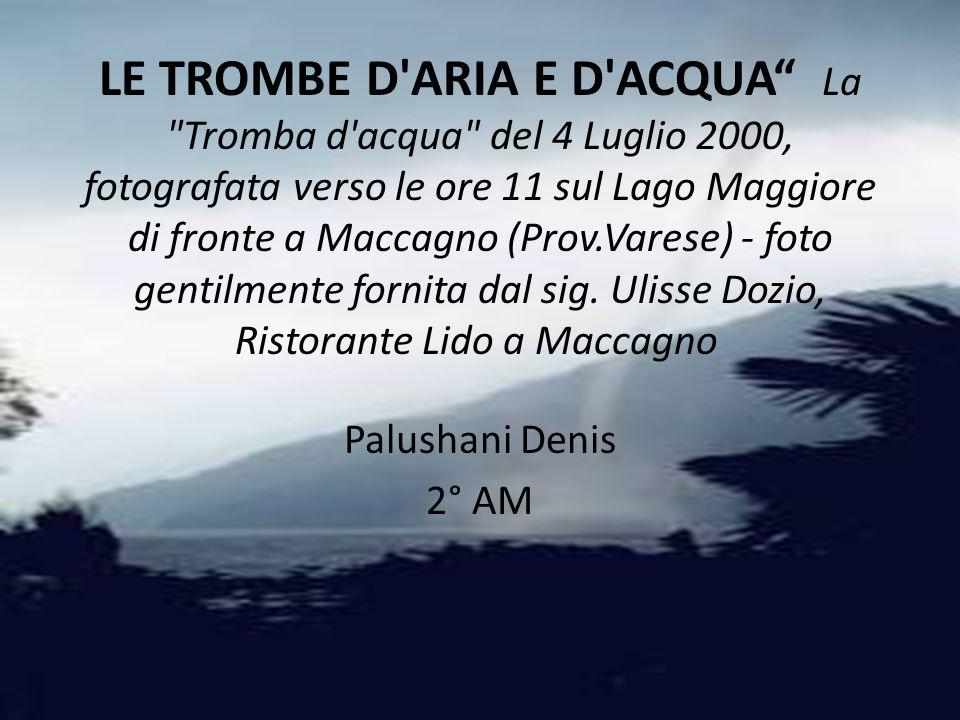 LE TROMBE D ARIA E D ACQUA La Tromba d acqua del 4 Luglio 2000, fotografata verso le ore 11 sul Lago Maggiore di fronte a Maccagno (Prov.Varese) - foto gentilmente fornita dal sig. Ulisse Dozio, Ristorante Lido a Maccagno