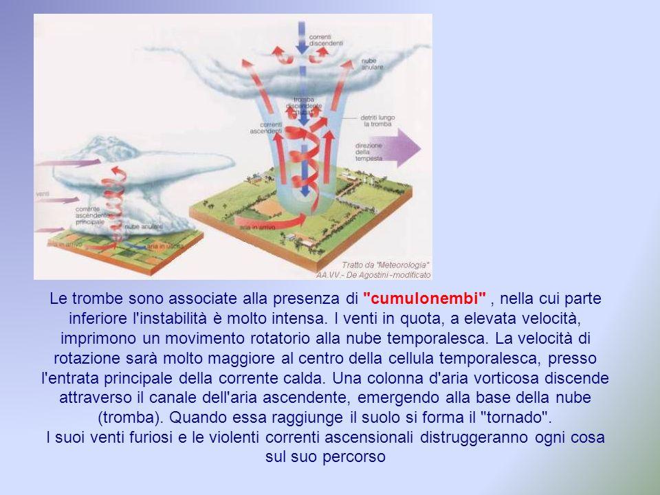 Le trombe sono associate alla presenza di cumulonembi , nella cui parte inferiore l instabilità è molto intensa.