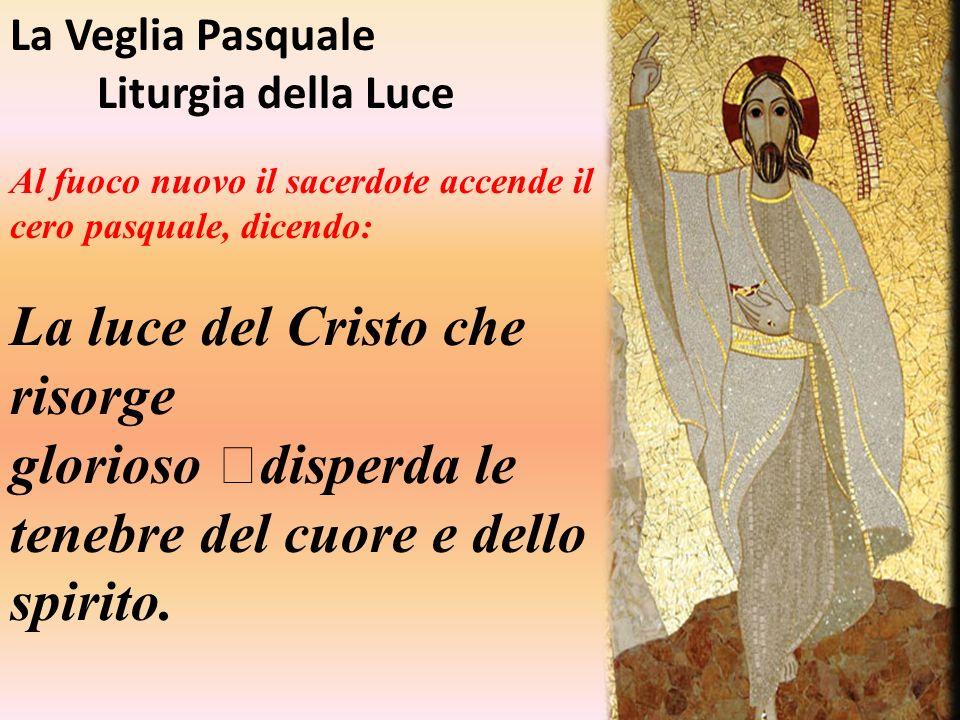 La Veglia Pasquale Liturgia della Luce. Al fuoco nuovo il sacerdote accende il cero pasquale, dicendo: