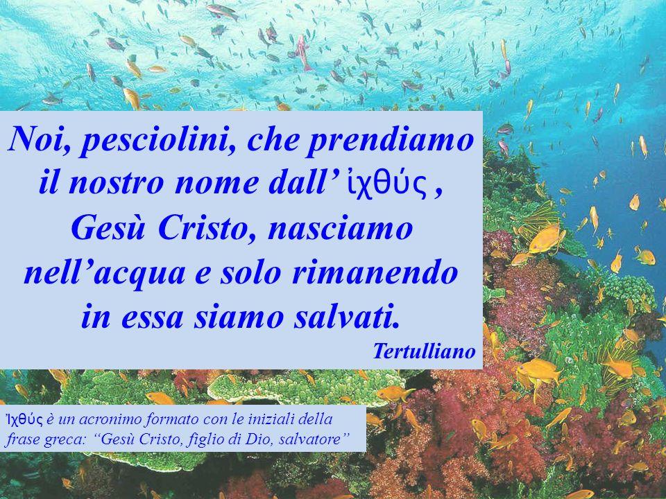 Noi, pesciolini, che prendiamo il nostro nome dall' ἰχθύς , Gesù Cristo, nasciamo nell'acqua e solo rimanendo in essa siamo salvati.