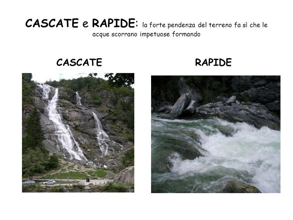 CASCATE e RAPIDE: la forte pendenza del terreno fa sì che le acque scorrano impetuose formando