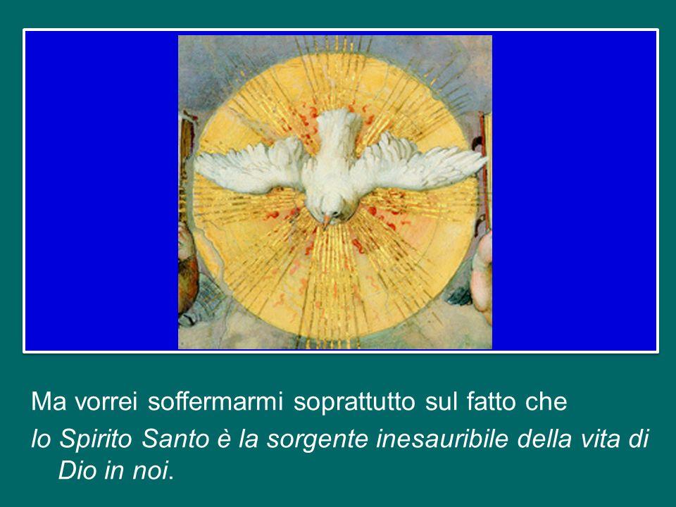 Ma vorrei soffermarmi soprattutto sul fatto che lo Spirito Santo è la sorgente inesauribile della vita di Dio in noi.
