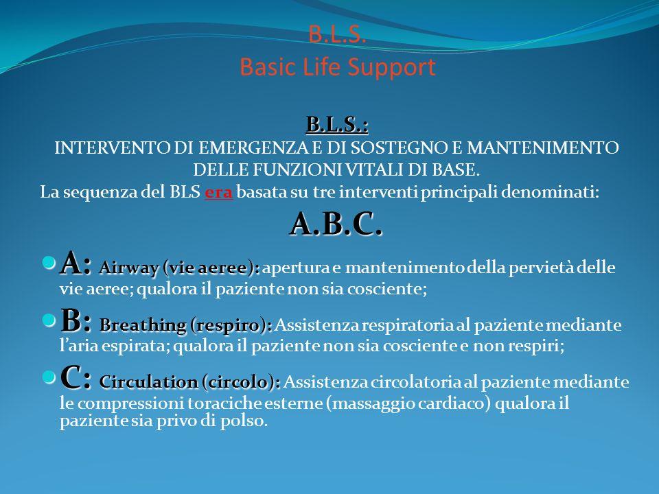 B.L.S. Basic Life Support B.L.S.: INTERVENTO DI EMERGENZA E DI SOSTEGNO E MANTENIMENTO. DELLE FUNZIONI VITALI DI BASE.