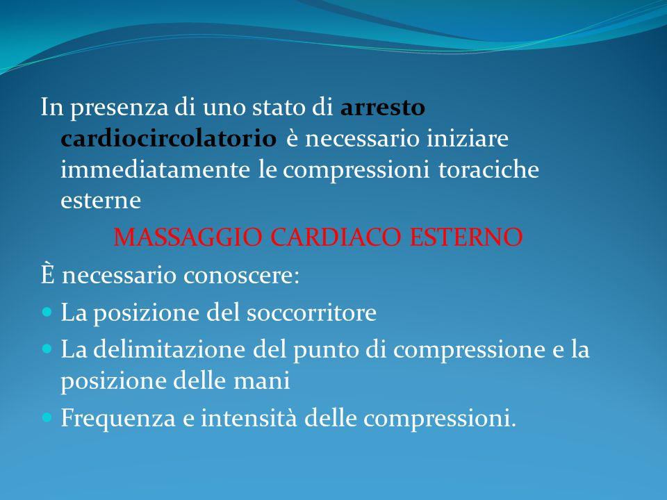 In presenza di uno stato di arresto cardiocircolatorio è necessario iniziare immediatamente le compressioni toraciche esterne