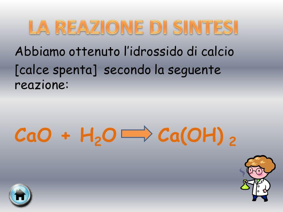 LA REAZIONE DI SINTESI CaO + H2O Ca(OH) 2