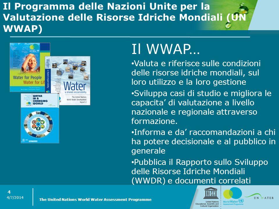 Il Programma delle Nazioni Unite per la Valutazione delle Risorse Idriche Mondiali (UN WWAP)