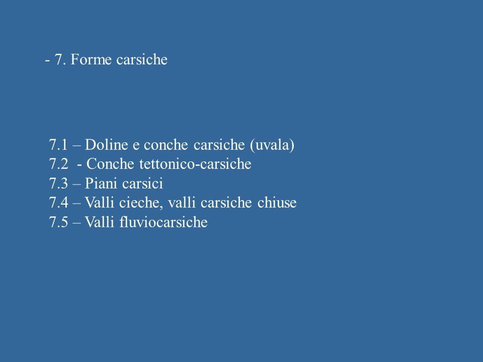 - 7. Forme carsiche 7.1 – Doline e conche carsiche (uvala) 7.2 - Conche tettonico-carsiche. 7.3 – Piani carsici.