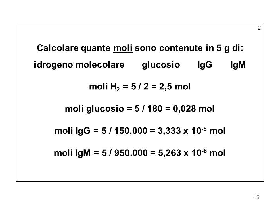 Calcolare quante moli sono contenute in 5 g di:
