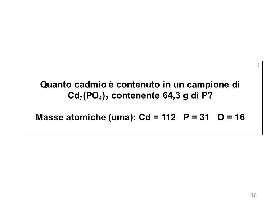 Masse atomiche (uma): Cd = 112 P = 31 O = 16