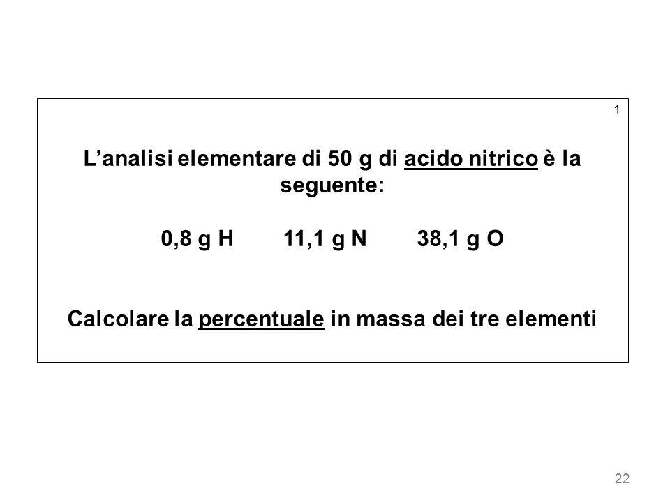 L'analisi elementare di 50 g di acido nitrico è la seguente: