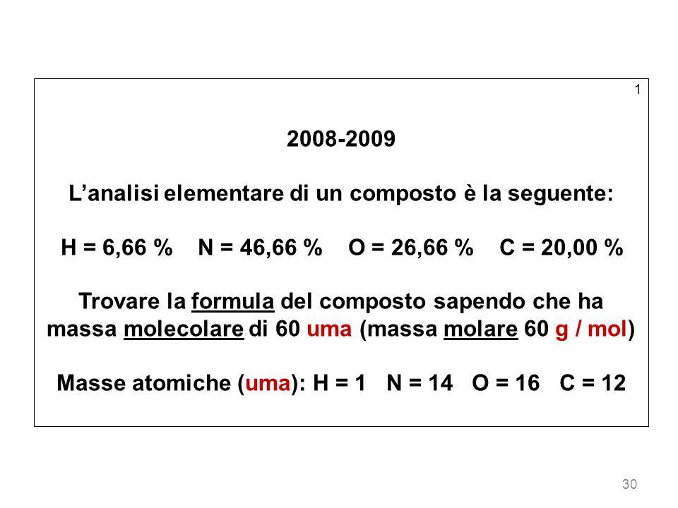 L'analisi elementare di un composto è la seguente: