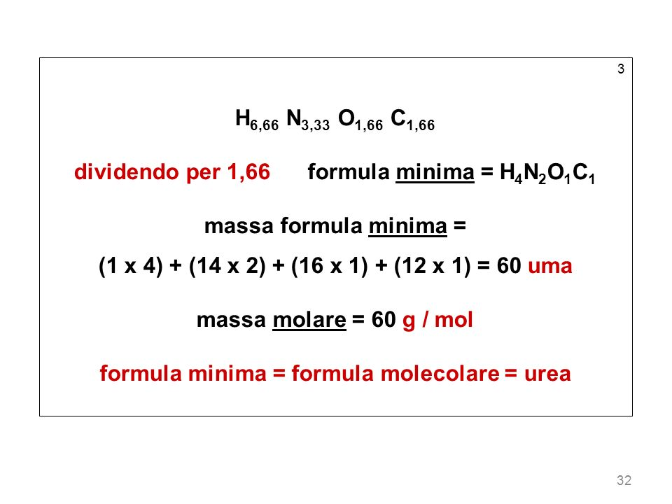 dividendo per 1,66 formula minima = H4N2O1C1 massa formula minima =