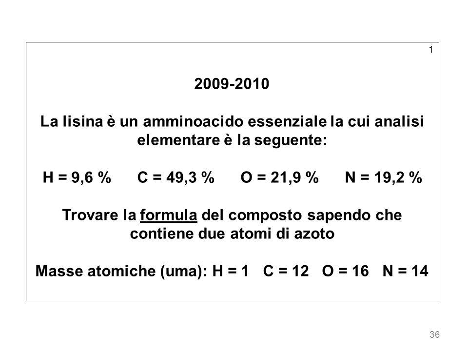 Masse atomiche (uma): H = 1 C = 12 O = 16 N = 14