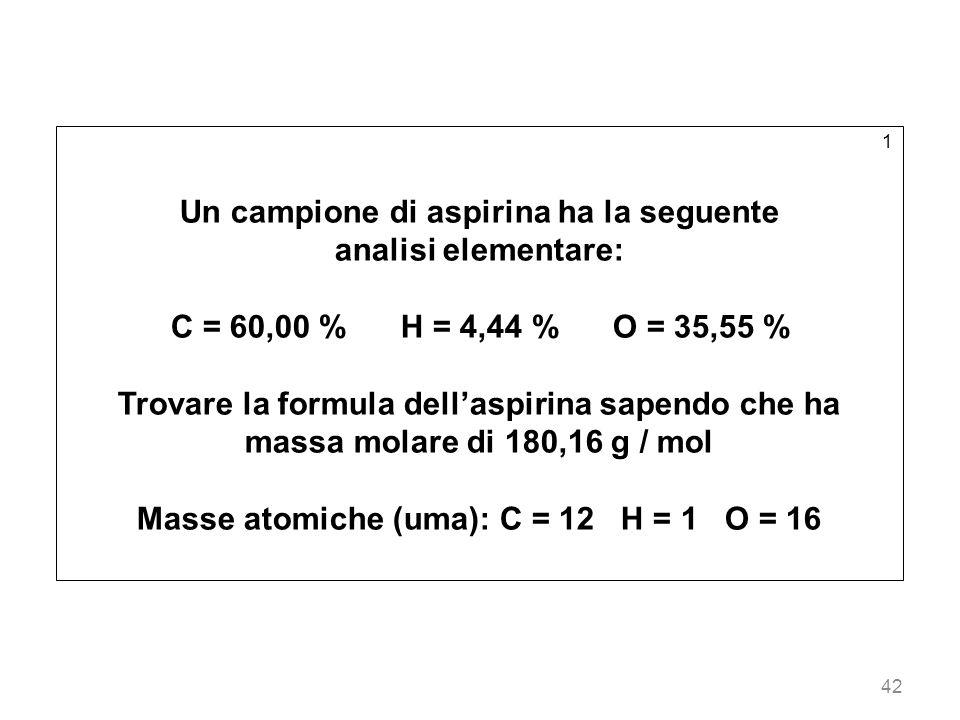 Un campione di aspirina ha la seguente analisi elementare: