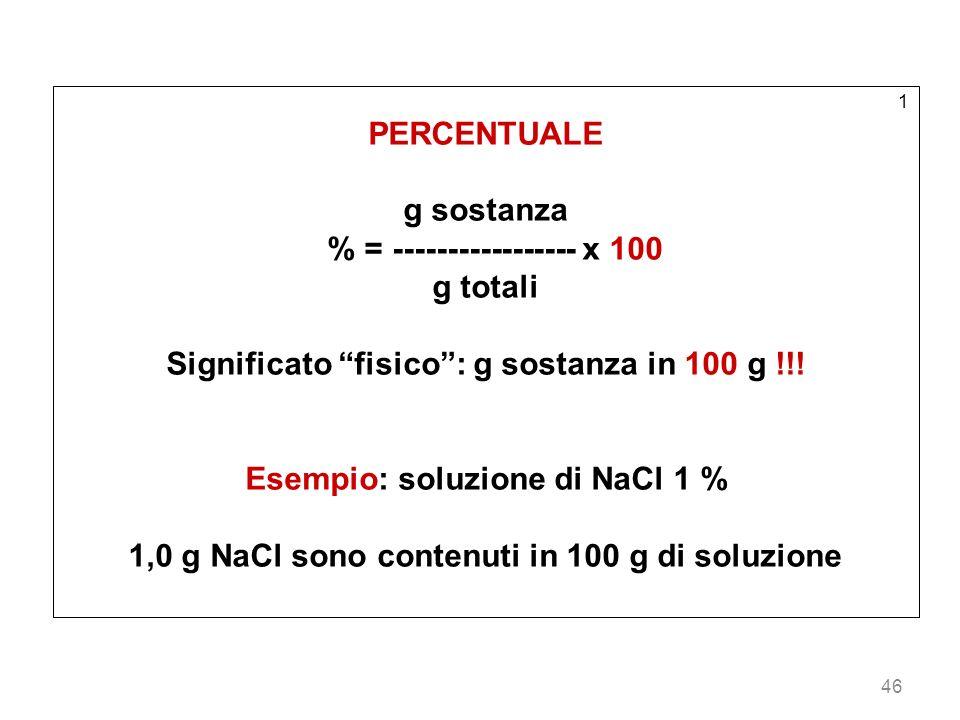 % = ----------------- x 100 g totali