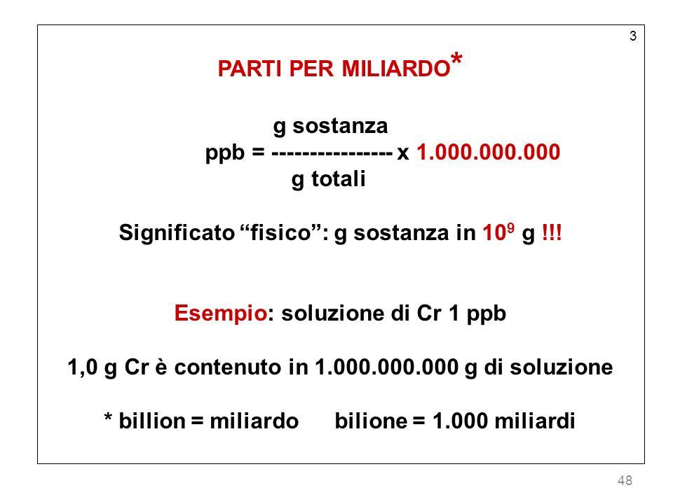 ppb = ---------------- x 1.000.000.000 g totali