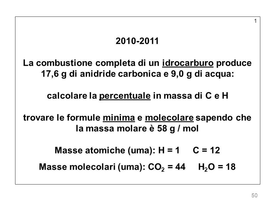 calcolare la percentuale in massa di C e H