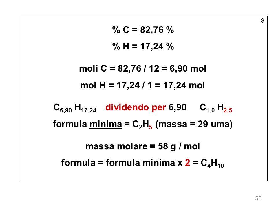 formula minima = C2H5 (massa = 29 uma) massa molare = 58 g / mol