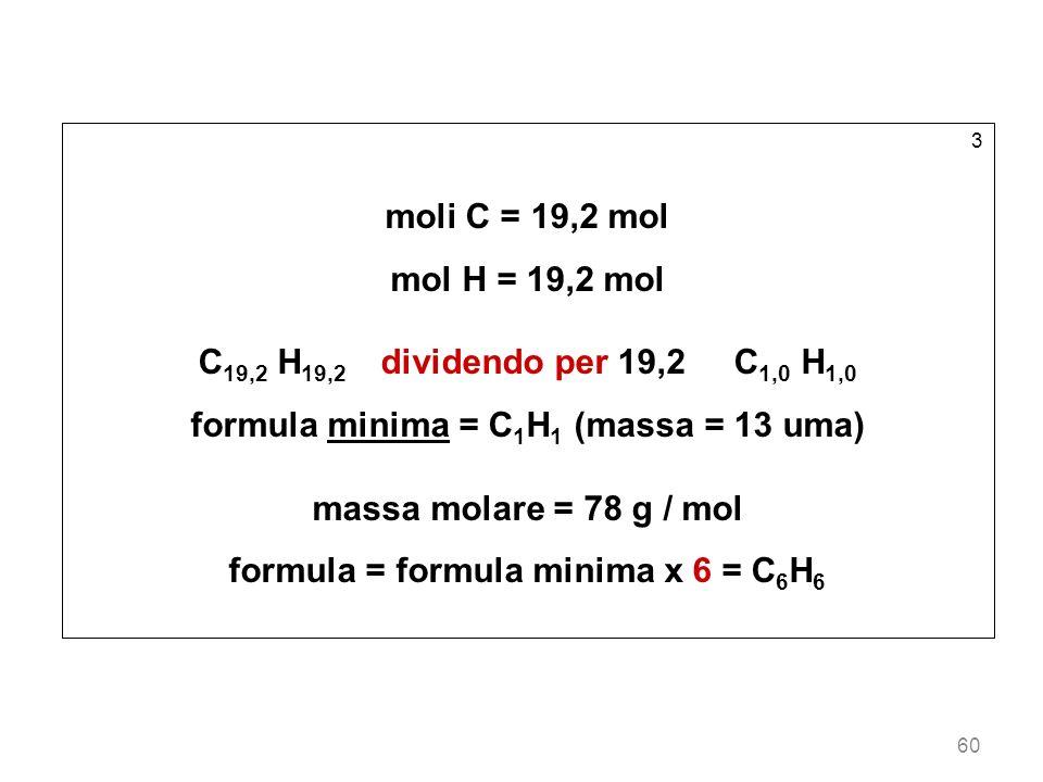 formula minima = C1H1 (massa = 13 uma) massa molare = 78 g / mol