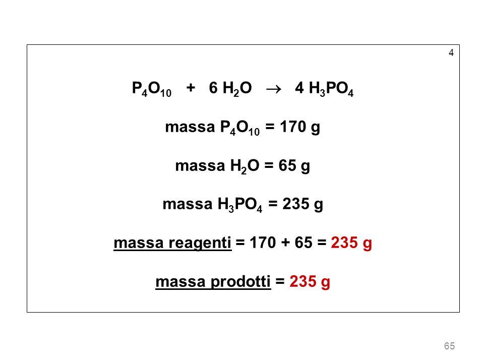 P4O10 + 6 H2O  4 H3PO4 massa P4O10 = 170 g massa H2O = 65 g