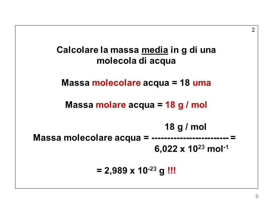 Calcolare la massa media in g di una molecola di acqua