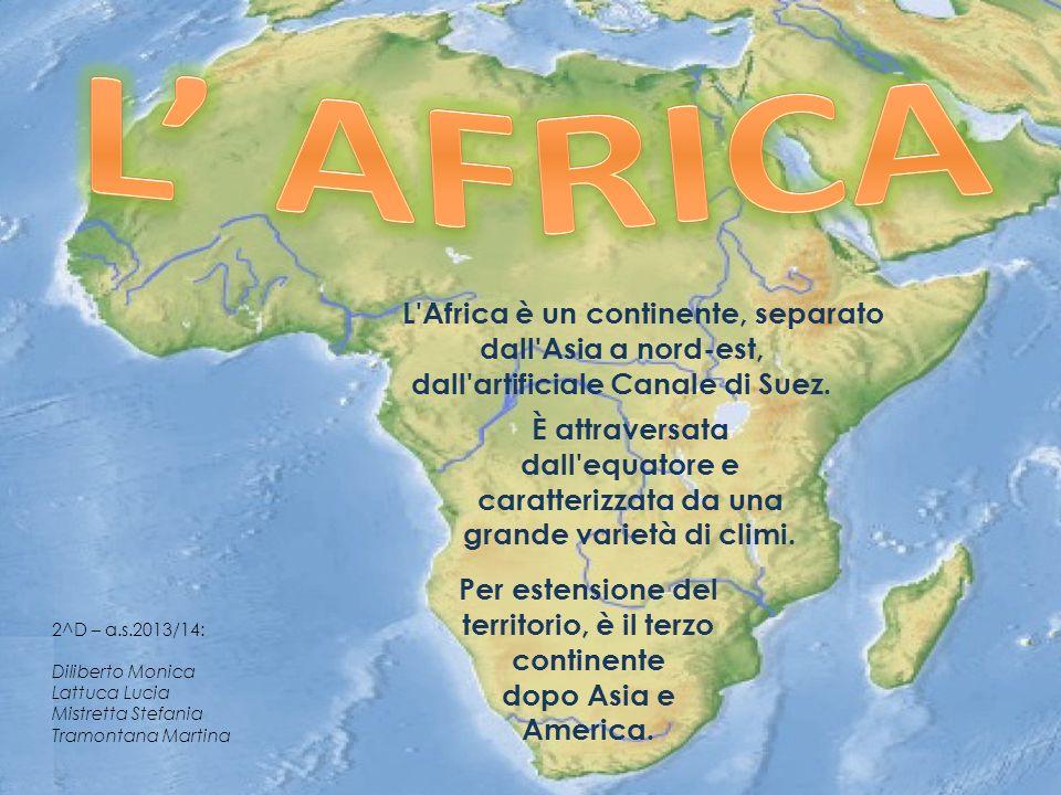 L' AFRICA L Africa è un continente, separato dall Asia a nord-est, dall artificiale Canale di Suez.