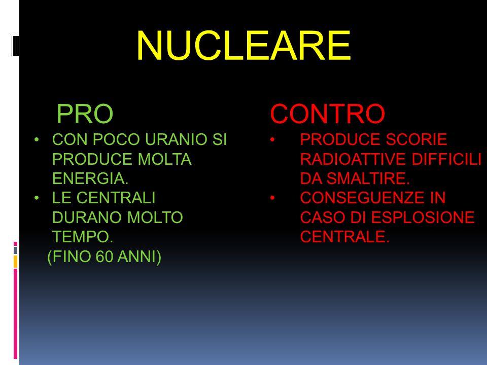 NUCLEARE PRO CONTRO CON POCO URANIO SI PRODUCE MOLTA ENERGIA.