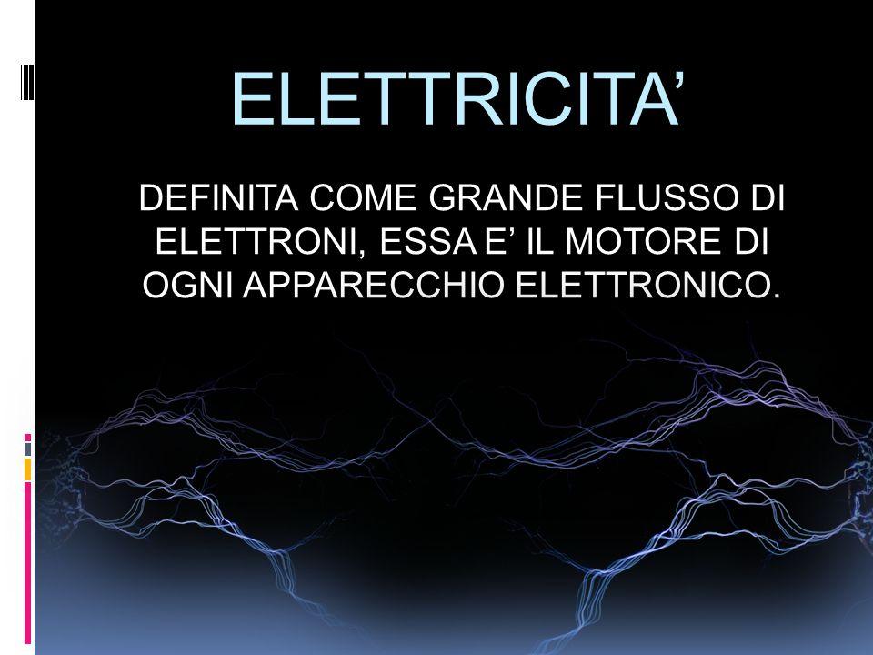 ELETTRICITA' DEFINITA COME GRANDE FLUSSO DI ELETTRONI, ESSA E' IL MOTORE DI OGNI APPARECCHIO ELETTRONICO.