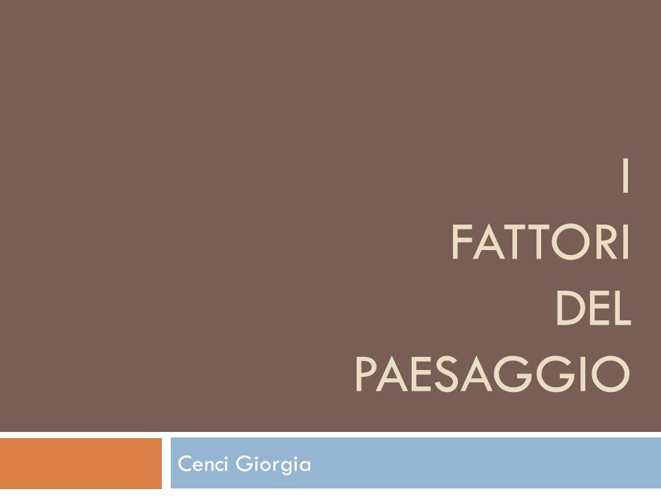 I FATTORI DEL PAESAGGIO