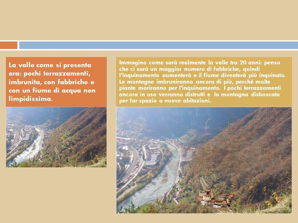 La valle come si presenta ora: pochi terrazzamenti, imbrunita, con fabbriche e con un fiume di acqua non limpidissima.