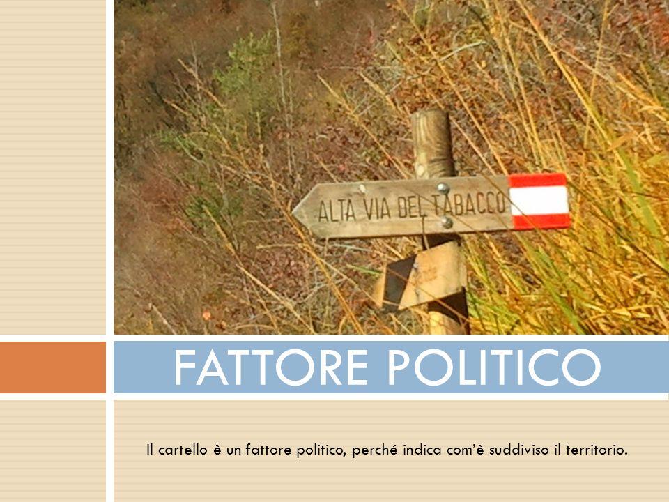 FATTORE POLITICO Il cartello è un fattore politico, perché indica com'è suddiviso il territorio.