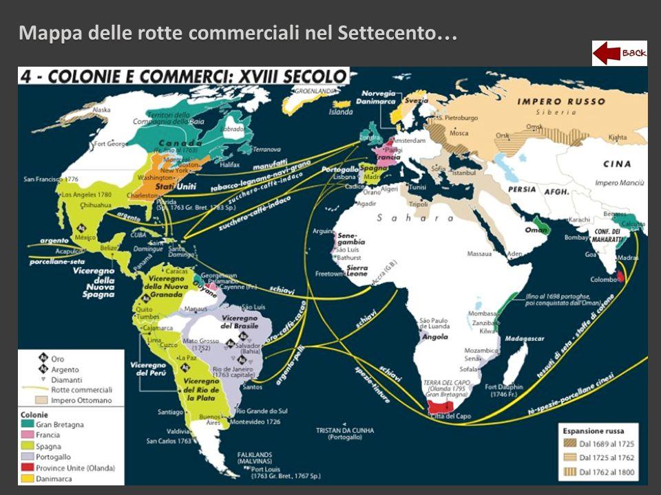 Mappa delle rotte commerciali nel Settecento…