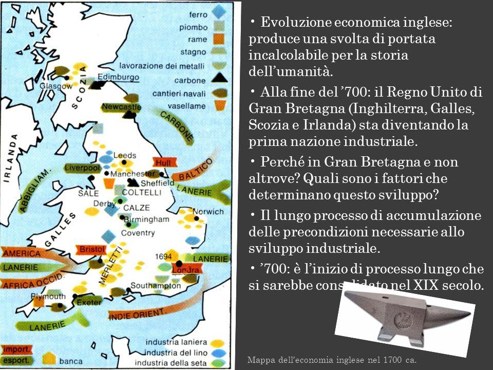 Evoluzione economica inglese: produce una svolta di portata incalcolabile per la storia dell'umanità.