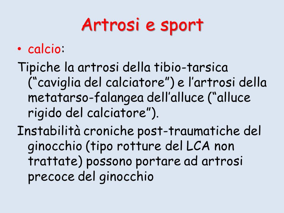 Artrosi e sport calcio: