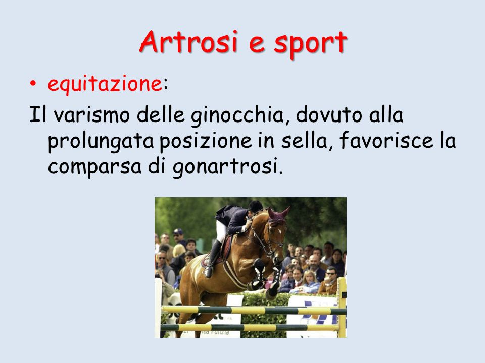 Artrosi e sport equitazione: